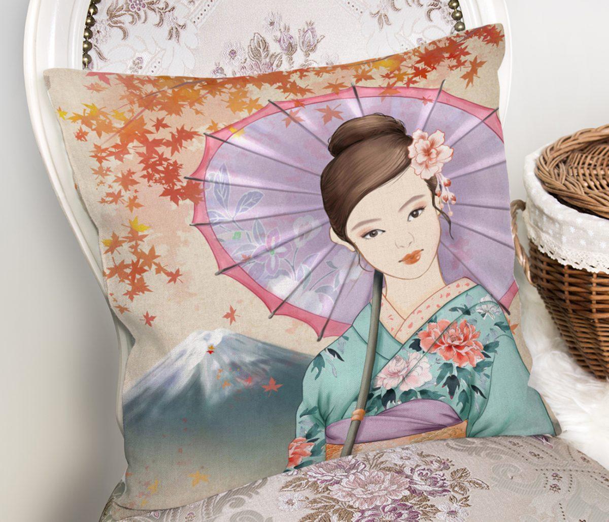 Şemsiyeli Japon Kız Motifli Dekoratif Kırlent Kılıfı Realhomes