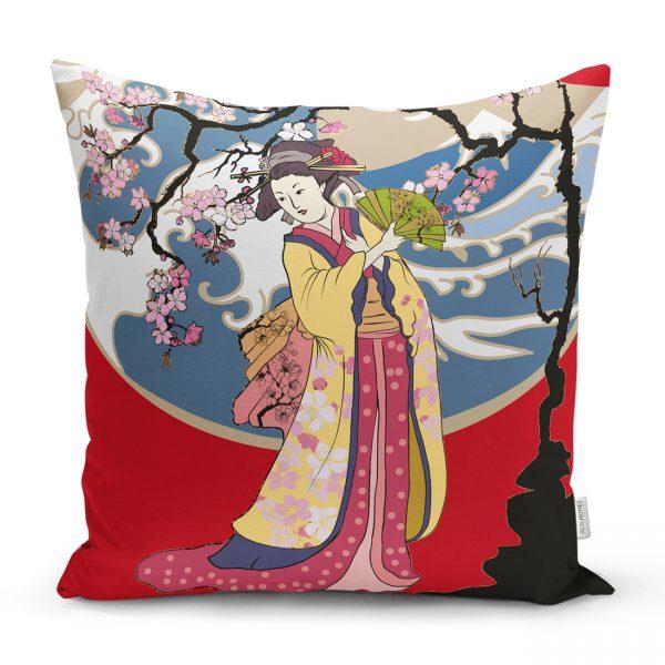 Çiçeğe Sarılmış Japon Kız Motifli Dekoratif Kırlent Kılıfı Realhomes