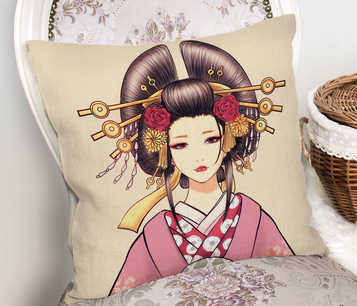 Masum Baskan Japon Kız Motifli Modern Kırlent Kılıfı Realhomes