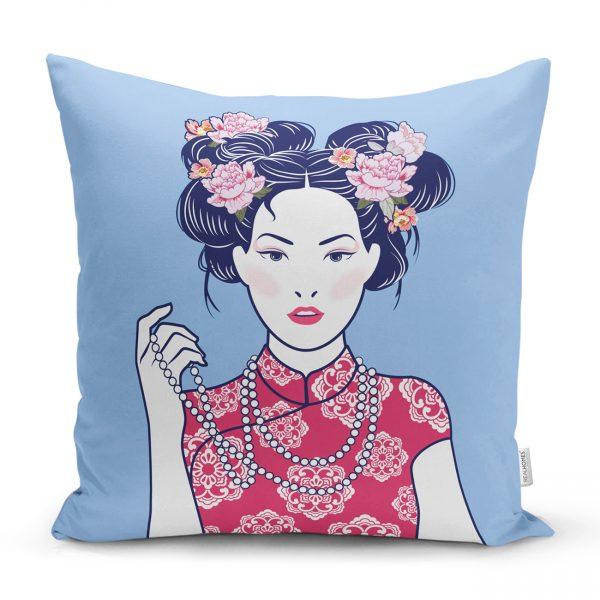 Gözlüklü Cool Japon Kadın Desenli Yastık Kılıfı Realhomes