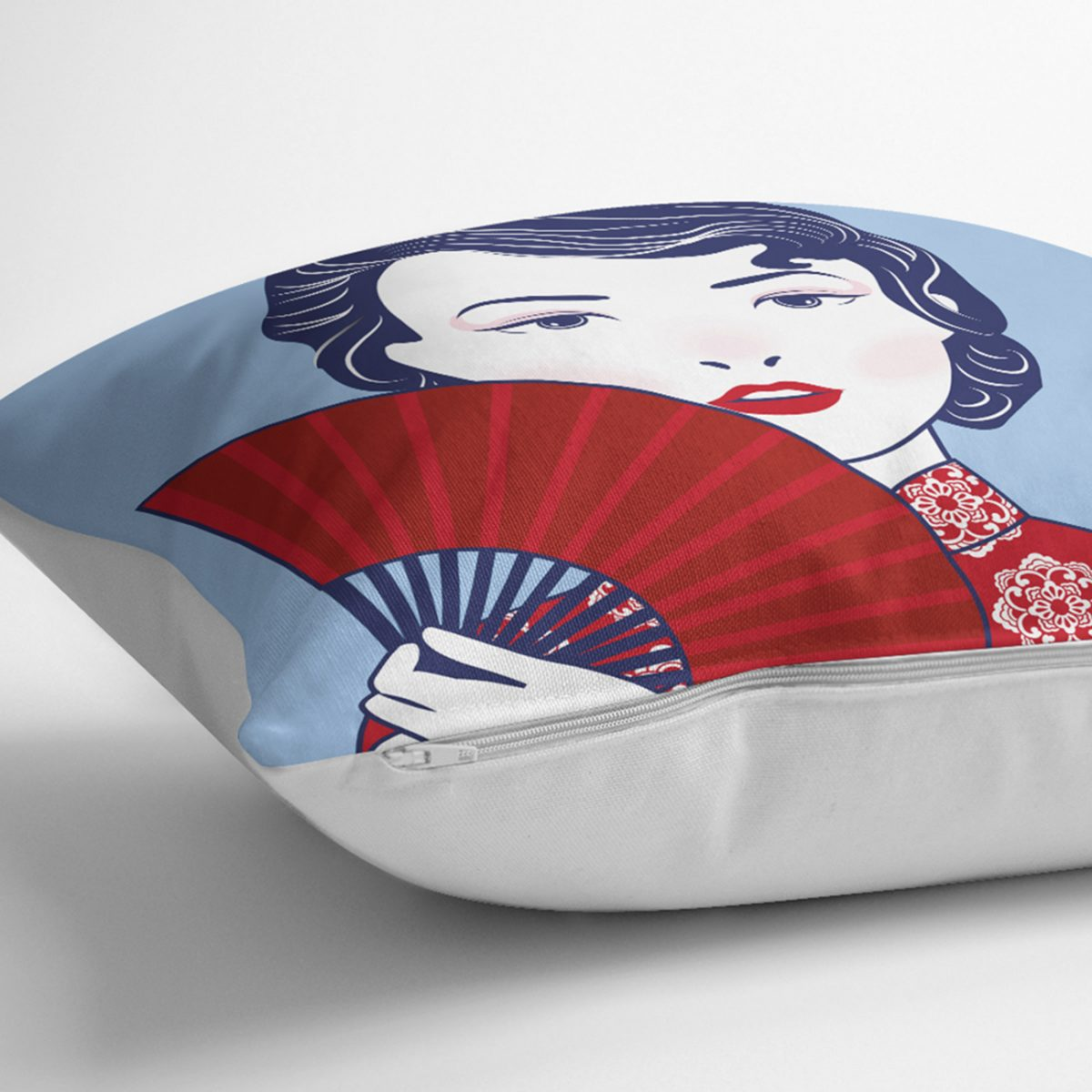 Kırmızı Yelpazeli Mavi Zeminli Japon Kadın Modern Yastık Kılıfı Realhomes