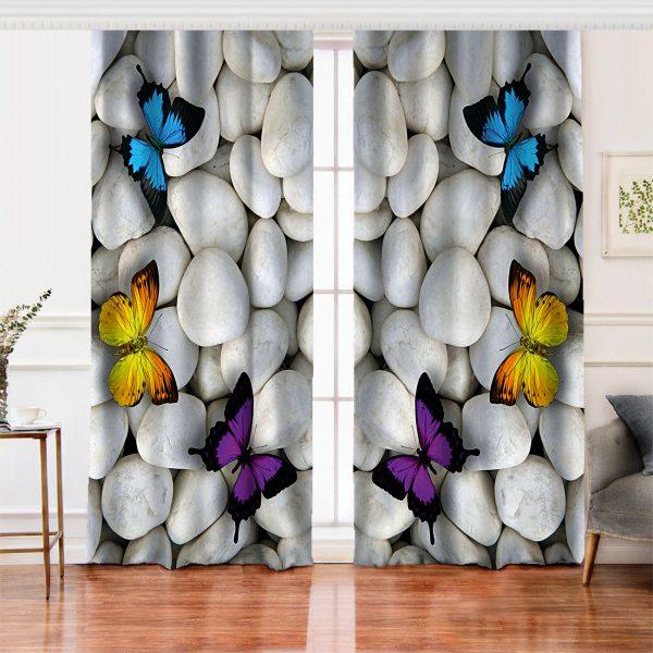 Kelebek Desenli Dijital Baskılı Salon Fon Perde Realhomes