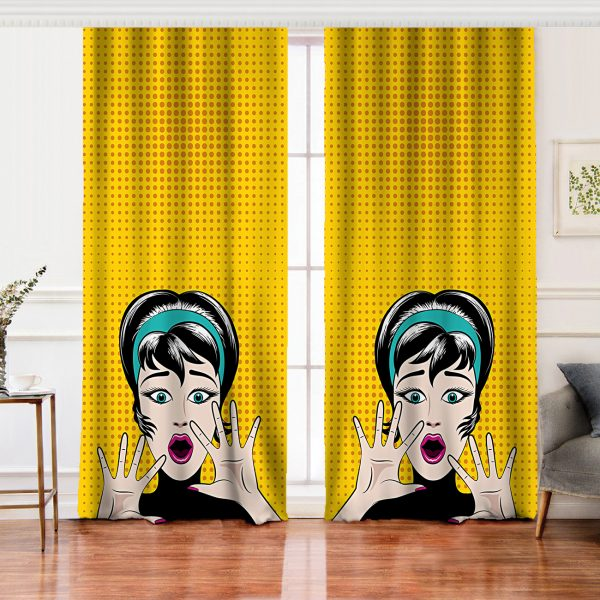 Pop Art Resimli Dijital Baskılı Salon Fon Perde Realhomes