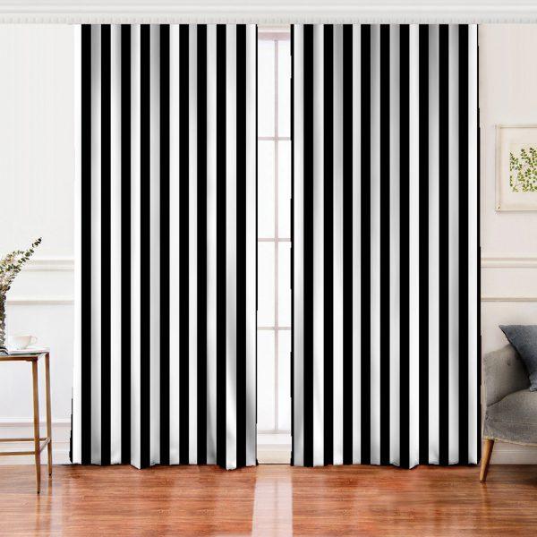 Siyah Beyaz Çizgili Salon Fon Perde Realhomes