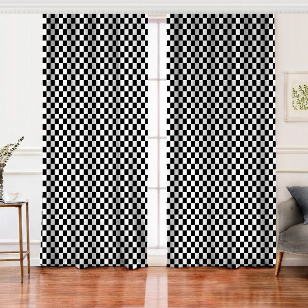 Siyah Beyaz Ekose Desenli Salon Fon Perde Realhomes