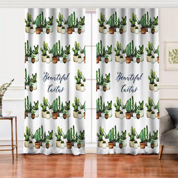 Beatiful Cactus Baskılı Dijital Salon Fon Perde Realhomes