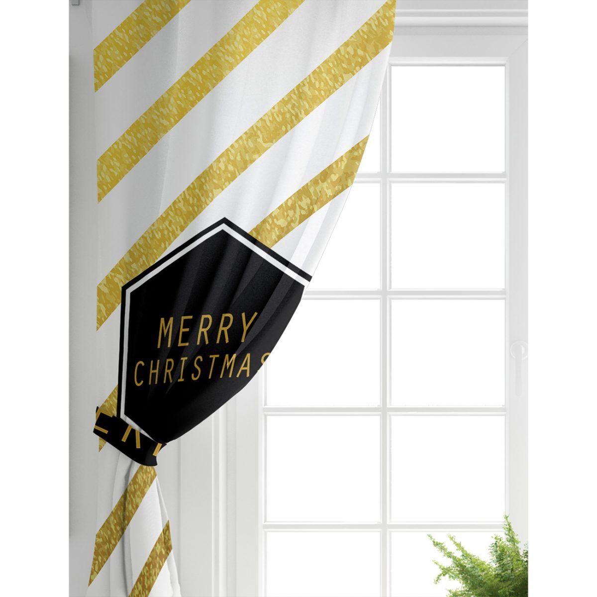 Altın Şeritli Merry Christmas Desenli Salon Fon Perde Realhomes