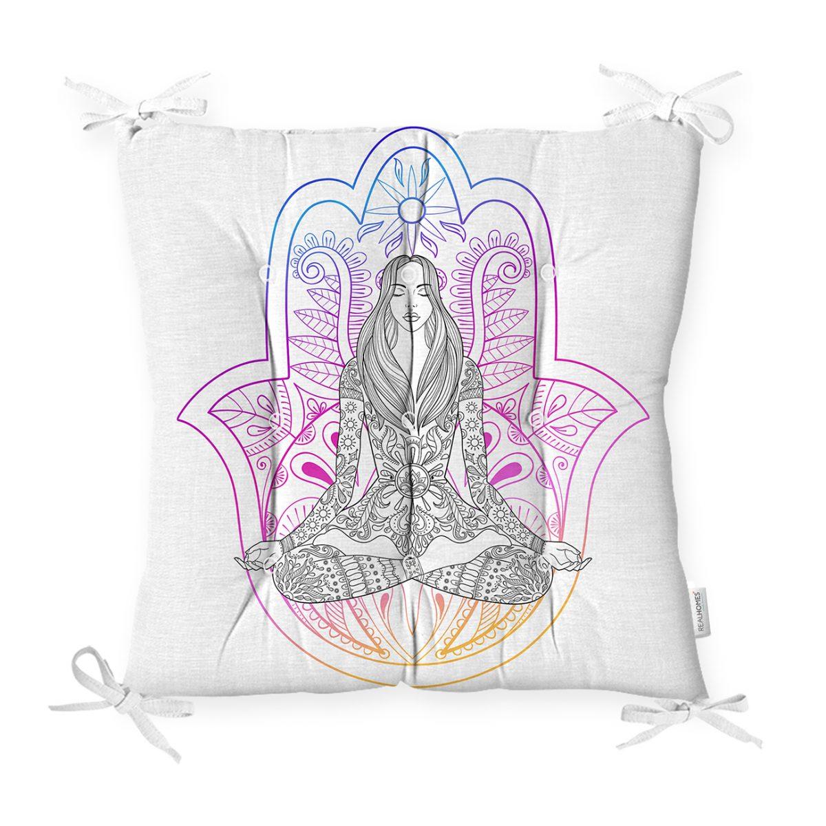 Fatma Ana Eli İçerisinde Yoga Yapan Kadın Desenli Pofidik Sandalye Minderi Realhomes