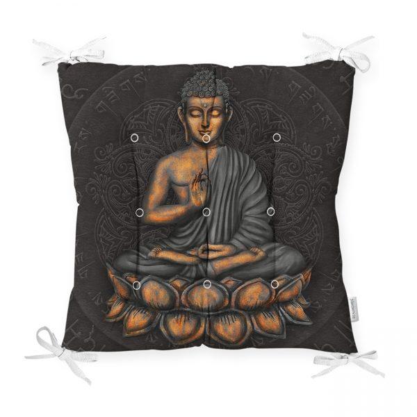 Gri Zeminde Buda Heykeli Motifli Özel Tasarım Pofidik Sandalye Minderi Realhomes