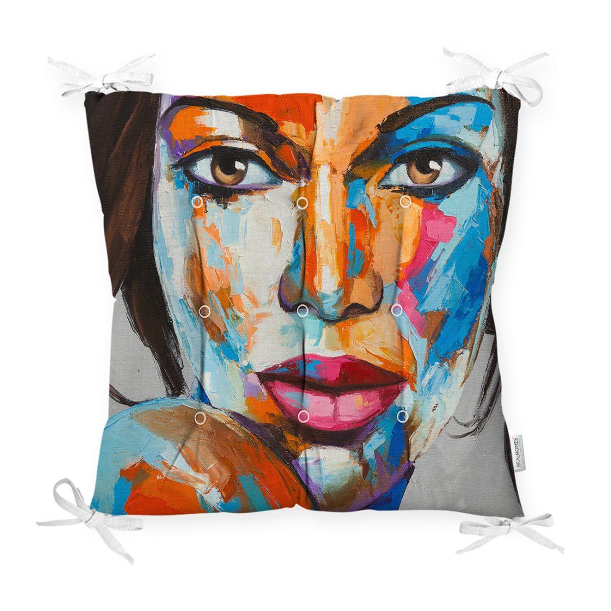 Sulu Boyalı Kadın Yüzlü Dekoratif Modern Pofidik Sandalye Minderi Realhomes