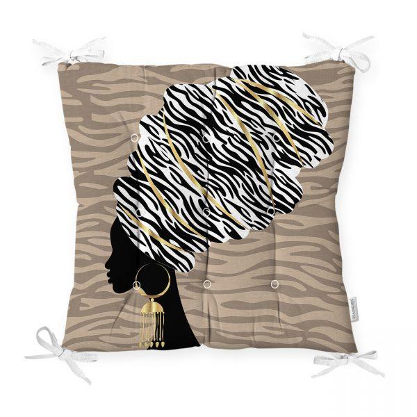 Siyah Beyaz Zenci Kadın Motifli Dekoratif Pofidik Sandalye Minderi Realhomes