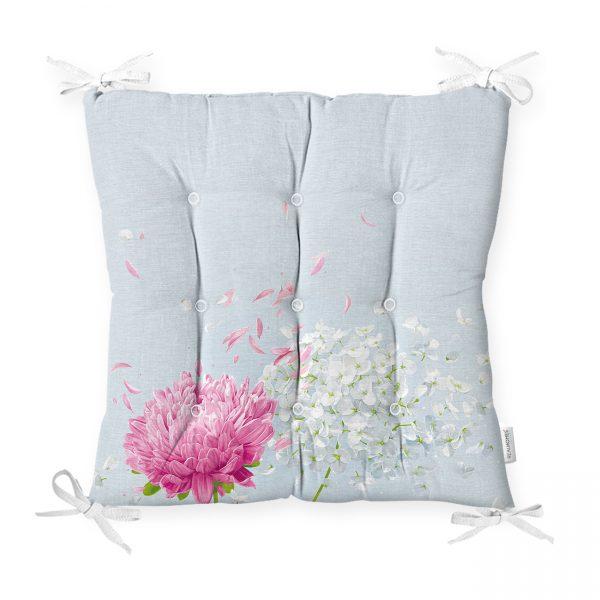 Mavi Zeminde Fuşya Beyaz Ortanca Çiçeği Baskılı Pofidik Sandalye Minderi Realhomes