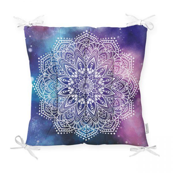 Gökkuşağı Zemininde Beyaz Mandala Çizimli Dekoratif Pofidik Sandalye Minderi Realhomes