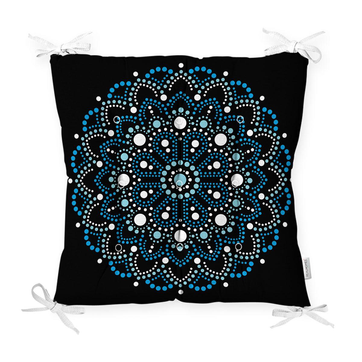 Siyah Zeminde Mavi Boncuklu Mandala Dekoratif Pofidik Sandalye Minderi Realhomes