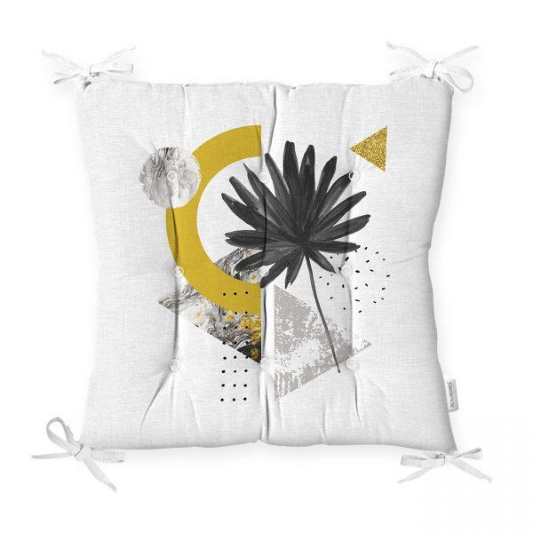 Beyaz Mermer Zemin Üzerinde Sonbahar Kurumuş Yaprak Desenli Pofidik Sandalye Minderi Realhomes
