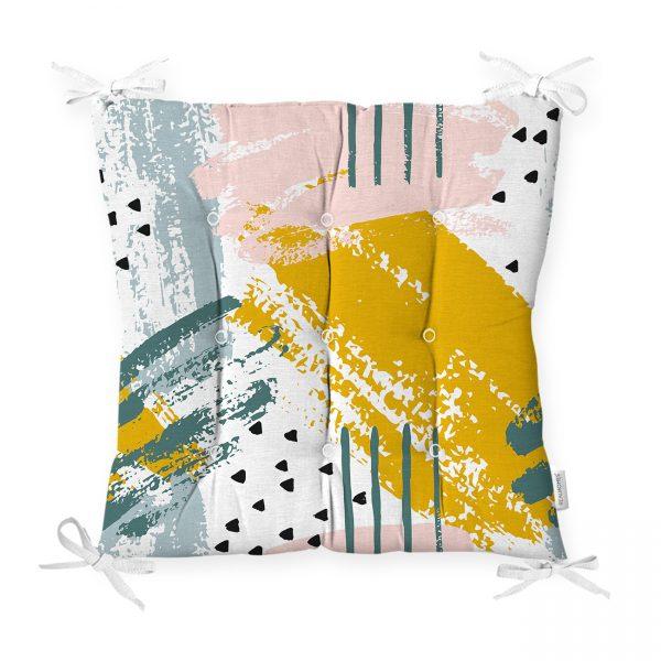 Pembe Zemin Üzerinde Sulu Boya Beyaz Ve Mavi Çizimli Özel Tasarım Pofidik Sandalye Minderi Realhomes