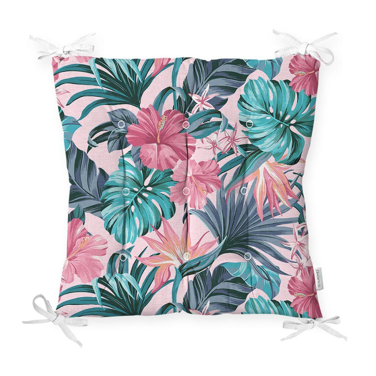 Pembe Zeminde Canlı Tropik Yaprakları Dijital Baskılı Pofidik Sandalye Minderi Realhomes