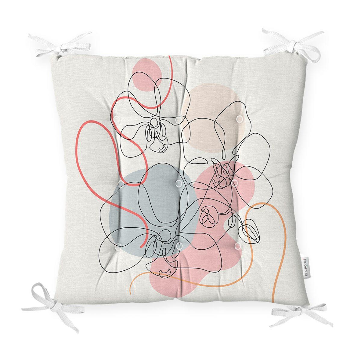 Kırmızı Ve Turucu Şerit Temalı Çiçek Tasrımlı Dekoratif Pofidik Sandalye Minderi Realhomes