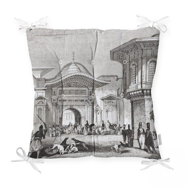 Osmanlı Çarşı Temalı Dekoratif Pofidik Sandalye Minderi Realhomes