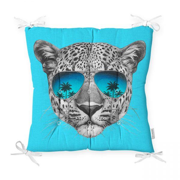 Mavi Zeminli Gözlüklü Cool Leopar Desenli Modern Pofidik Sandalye Minderi Realhomes