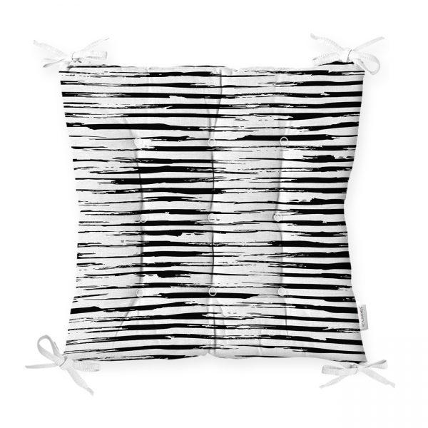 Siyah Beyaz Damalı Modern Pofidik Sandalye Minderi Realhomes