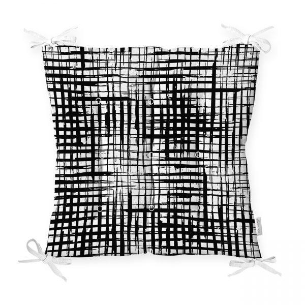 Beyaz Zeminde Anlamsız Çizgiler Desenli Pofidik Sandalye Minderi Realhomes