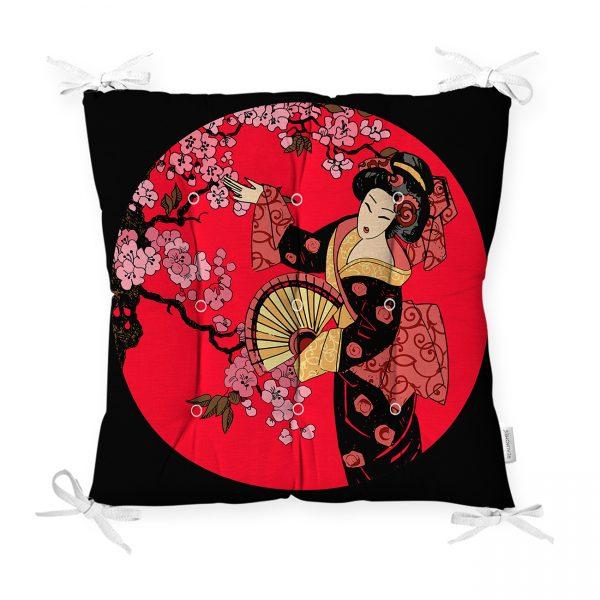 Çiçek Desenli Yelpazeli Japon Kız Motifli Modern Pofidik Sandalye Minderi Realhomes
