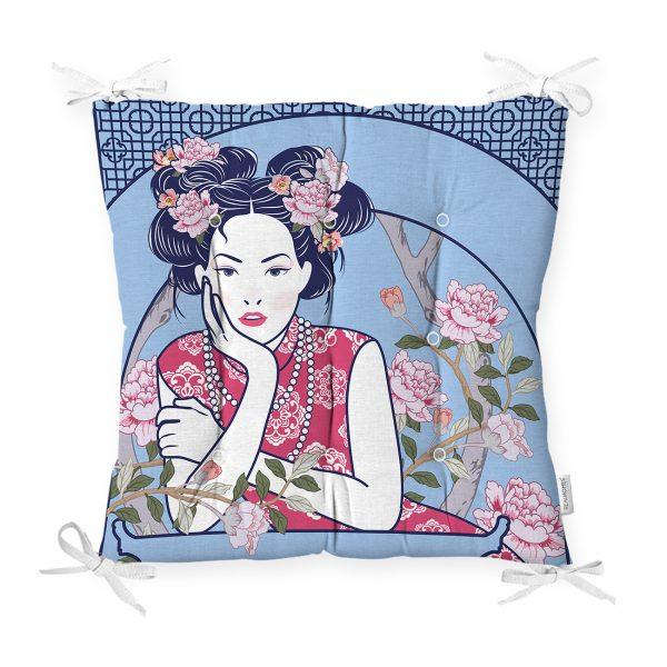 Çiçek Taçlı Japon Kadın Figürlü Dekoratif Pofidik Sandalye Minderi Realhomes