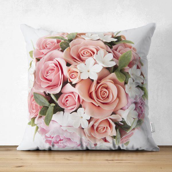 Çift Taraflı Çiçek Desenli Dijital Baskılı Dekoratif Süet Yastık Kırlent Kılıfı Realhomes