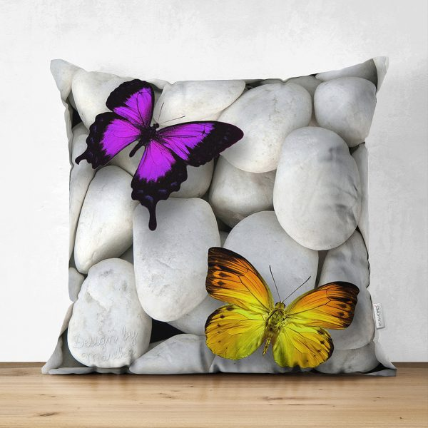 Çift Taraflı Kelebek Desenli Dijital Baskılı Dekoratif Süet Yastık Kırlent Kılıfı Realhomes