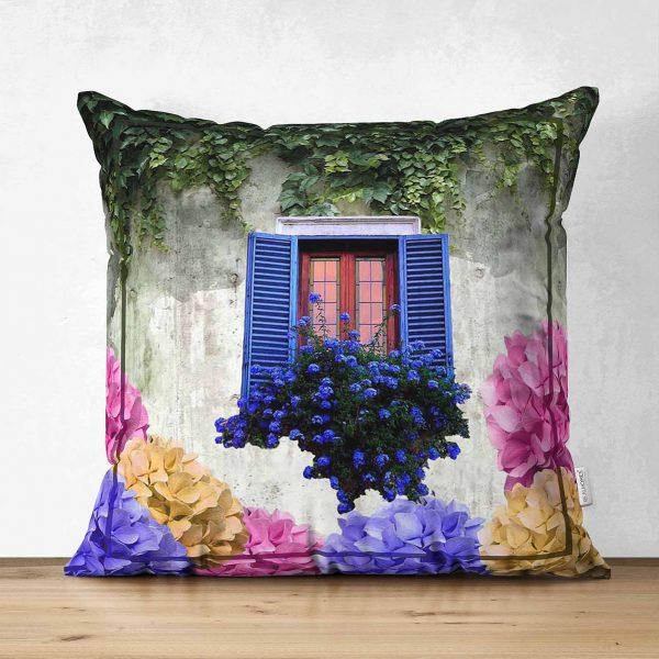 Çift Taraflı Çiçek Penceresi Dijital Baskılı Modern Süet Yastık Kırlent Kılıfı Realhomes