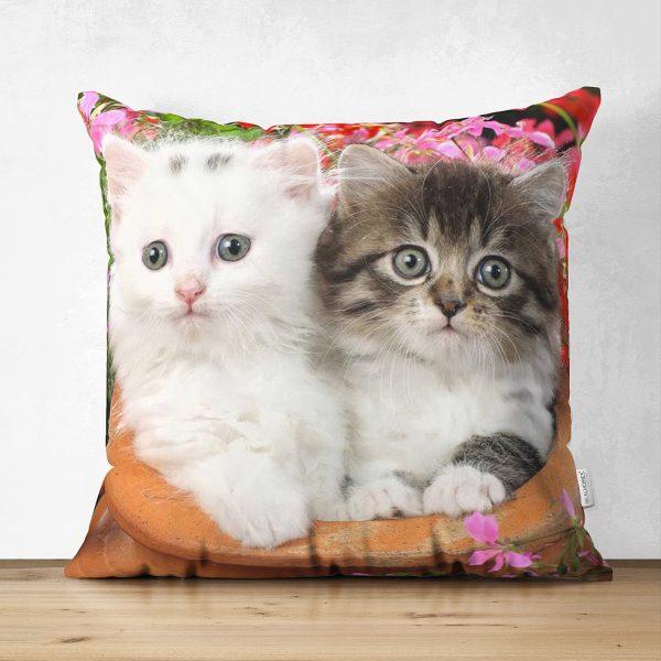 Çift Taraflı Sevimli Kediler Dijital Baskılı Dekoratif Süet Yastık Kırlent Kılıfı Realhomes
