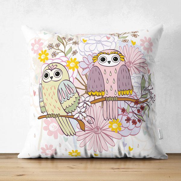 Çift Taraflı Modern Baykuş Desenli Dijital Baskılı Dekoratif Süet Yastık Kırlent Kılıfı Realhomes