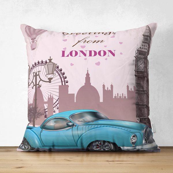 Çift Taraflı London Car Dijital Baskılı Dekoratif Süet Yastık Kırlent Kılıfı Realhomes