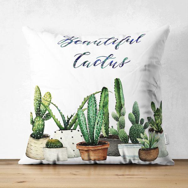 Çift Taraflı Beatiful Cactus Dijital Baskılı Süet Yastık Kırlent Kılıfı Realhomes