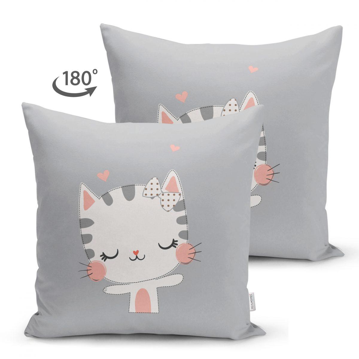 Çift Taraflı Sevimli Kedicik Desenli Çocuk Odası Süet Yastık Kırlent Kılıfı Realhomes