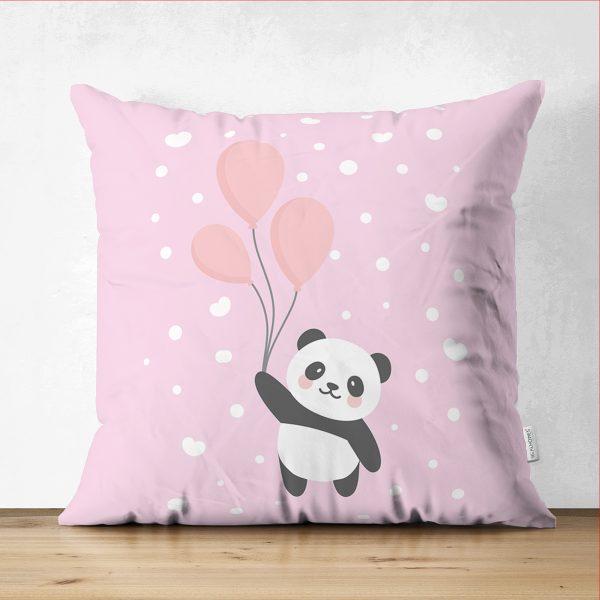 Çift Taraflı Uçan Balonlar ve Sevimli Panda Desenli Çocuk Odası Süet Yastık Kırlent Kılıfı Realhomes