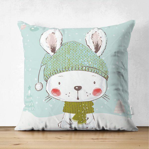 Çift Taraflı Winter Tavşan Morifli Dijital Baskılı Çocuk Odası Süet Yastık Kırlent Kılıfı Realhomes