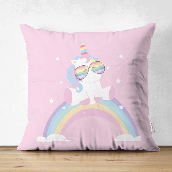 Çift Taraflı Pembe Zeminde Unicorn Tasarımlı Çocuk Odası Süet Yastık Kırlent Kılıfı Realhomes