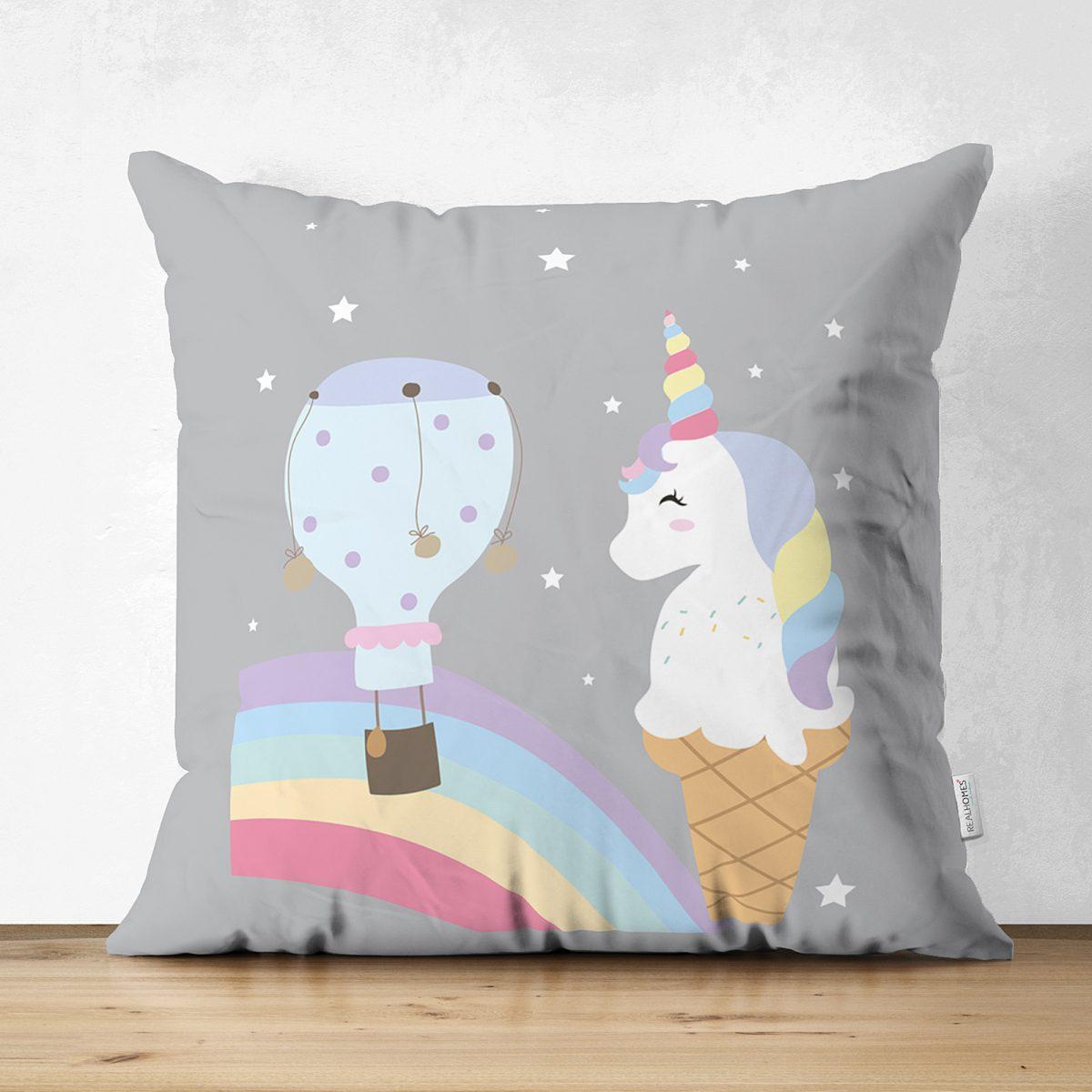 Çift Taraflı Gri Zeminde Unicorn Tasarımlı Çocuk Odası Süet Yastık Kırlent Kılıfı Realhomes