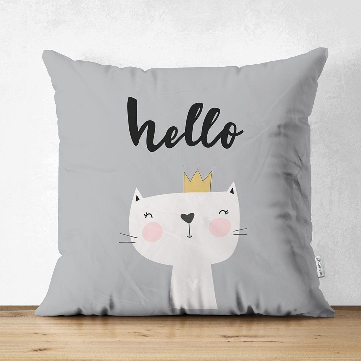 Çift Taraflı Hello Kedicik Özel Tasarımlı Bebek Odası Süet Yastık Kırlent Kılıfı Realhomes