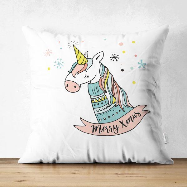 Çift Taraflı Beyaz Zeminde Unicorn Motifli Bebek Odası Süet Yastık Kırlent Kılıfı Realhomes