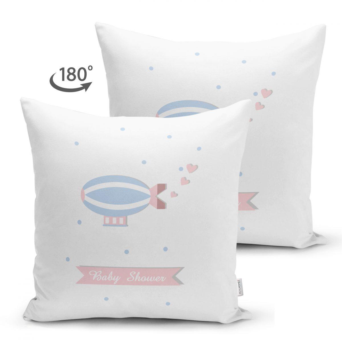 Çift Taraflı Beyaz Zeminde Balon Tasarımlı Bebek Odası Süet Yastık Kırlent Kılıfı Realhomes