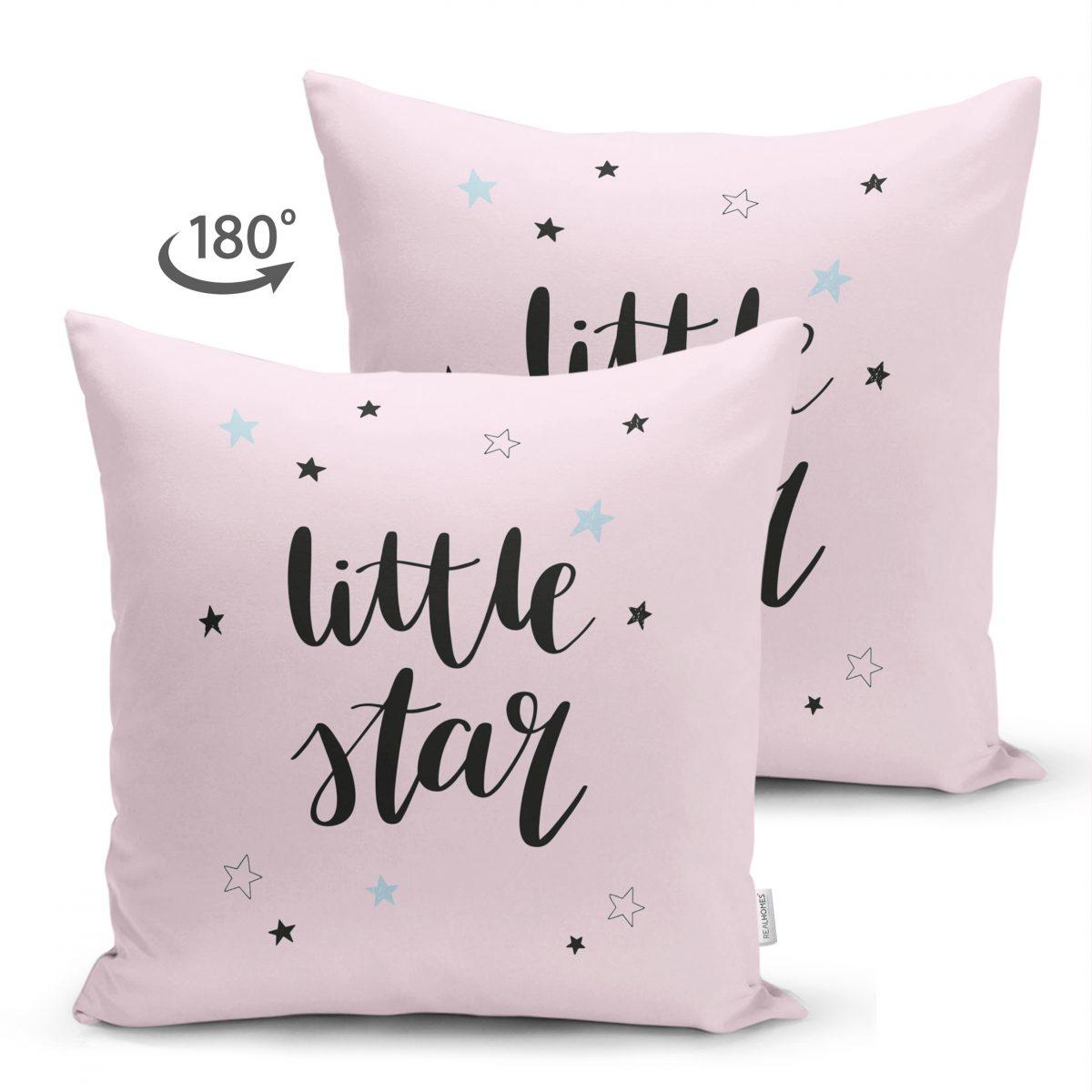 Çift Taraflı Pembe Zeminde Little Star Yıldız Tasarımlı Bebek Odası Süet Yastık Kırlent Kılıfı Realhomes