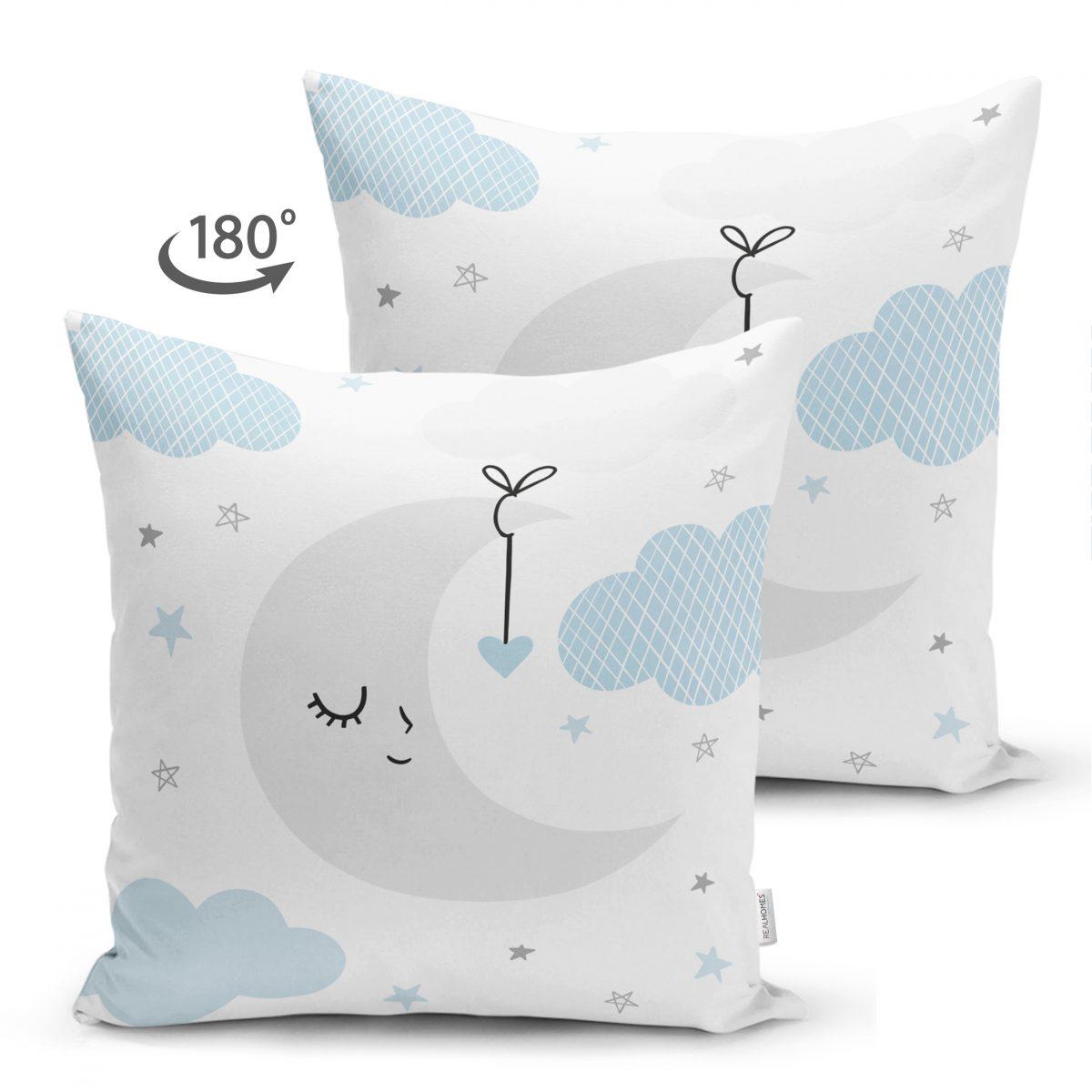 Çift Taraflı Mavi Bulut ve Gri Ay Tasarımlı Bebek Odası Süet Yastık Kırlent Kılıfı Realhomes