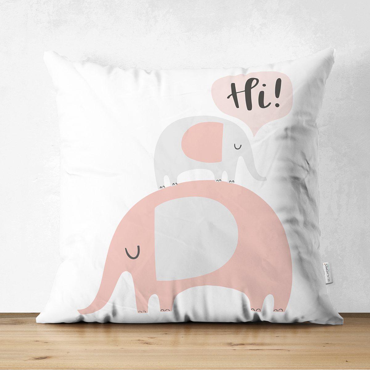 Çift Taraflı Beyaz Zeminde Sevimli Filler Özel Tasarımlı Bebek Odası Süet Yastık Kırlent Kılıfı Realhomes