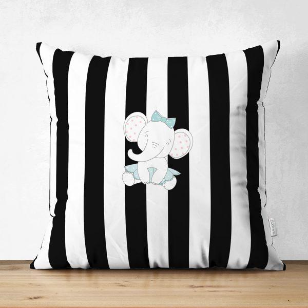 Çift Taraflı Siyah Beyaz Çizgili Fil Motifli Bebek Odası Süet Yastık Kırlent Kılıfı Realhomes