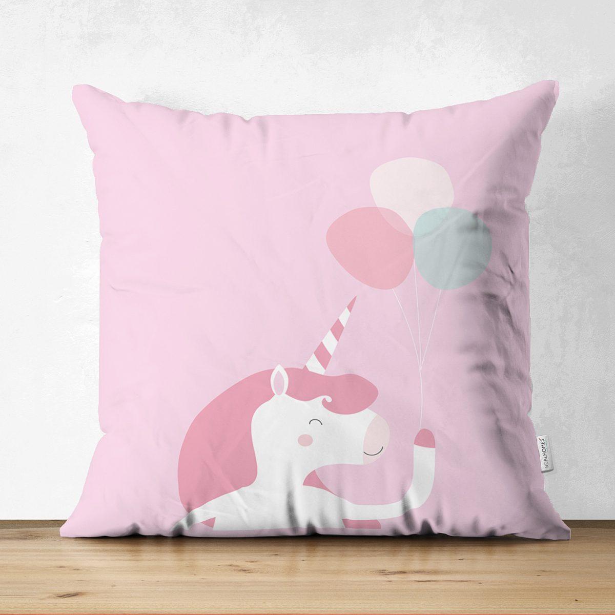 Çift Taraflı Pembe Zeminde Unicorn At Tasarımlı Bebek Odası Süet Yastık Kırlent Kılıfı Realhomes