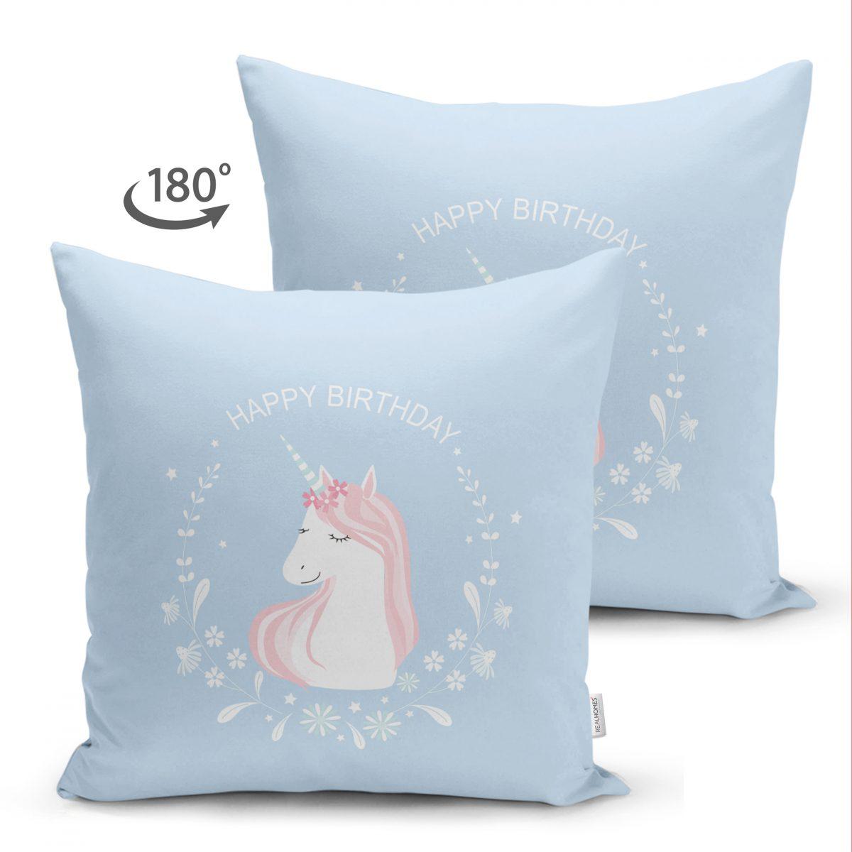 Çift Taraflı Mavi Zeminde Unicorn At Tasarımlı Bebek Odası Süet Yastık Kırlent Kılıfı Realhomes