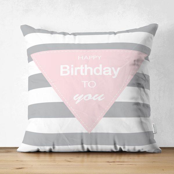 Çift Taraflı Happy Birthday To You Tasarımlı Dijital Baskılı Bebek Odası Süet Yastık Kırlent Kılıfı Realhomes